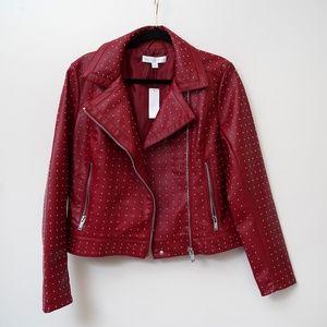NY&C Studded Faux Leather Red Moto Jacket NWT